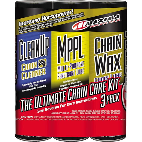 Maxima Chain Wax Ultimate Chain Care Kit Combo 3-Pack