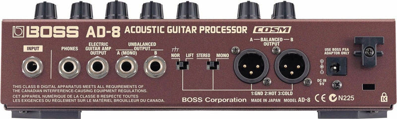 Boss AD-8 Acoustic Guitar Effects Modeling Processor w/ COSM Tuner EQ Reverb