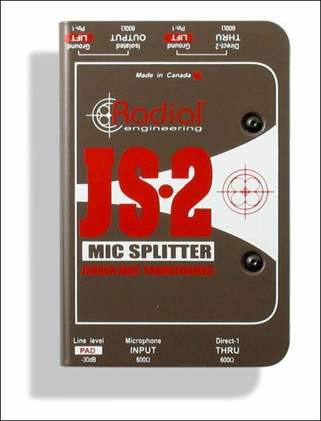 Radial Engineering JS2 Two-Way Microphone Signal Splitter DI Direct Box