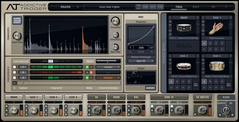 XLN Audio Addictive Trigger: Drum Vault Drum Replacement Mac/PC Virtual Instrument VST AU AAX