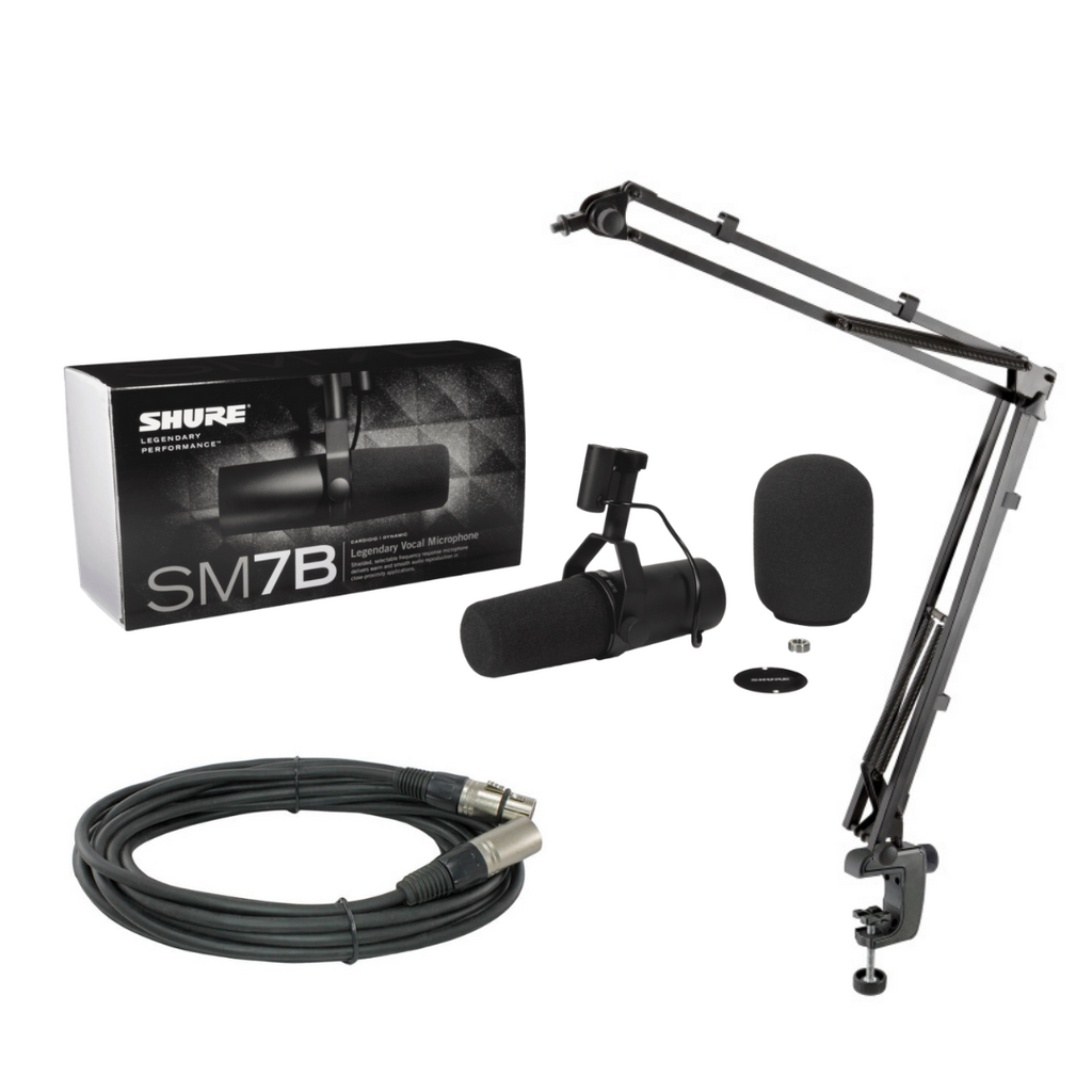Shure SM7B Cardioid Dynamic Microphone + K&M 23850 Broadcast Microphone Desk Arm and Clamp (Black)