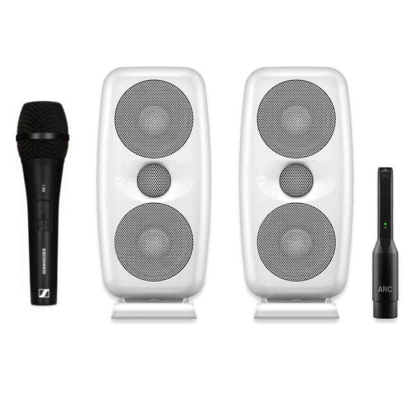 IK Multimedia iLoud MTM White High Resolution Compact Studio Monitors (Pair) + FREE Sennheiser Microphone