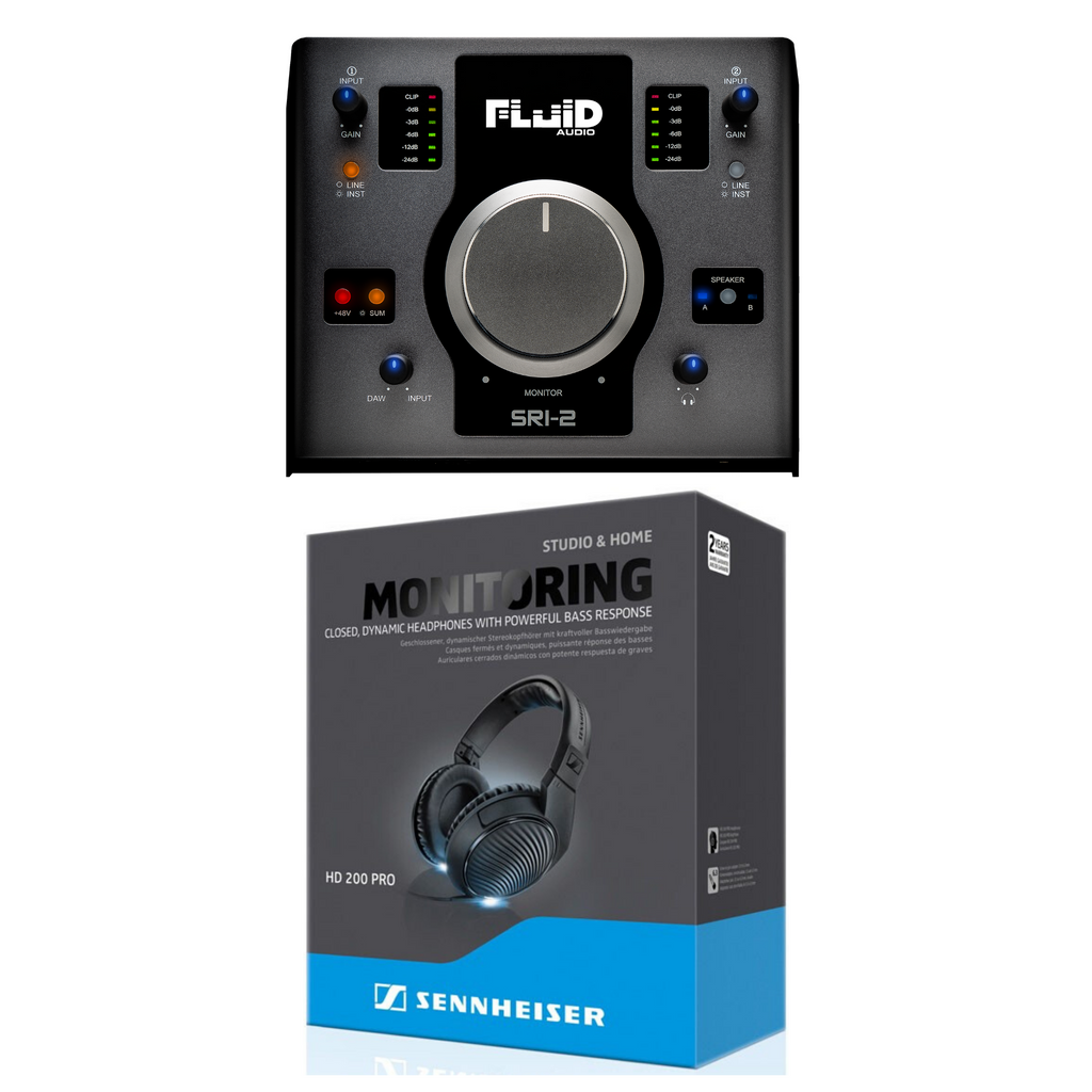 Fluid Audio SRI-2 2x2 USB Audio Interface & Monitor Controller + Sennheiser HD-200 Pro Headphones Bundle