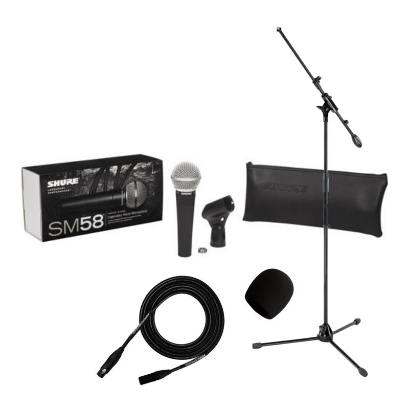 Shure SM58 Cardioid Dynamic Vocal Microphone Bundle (SM58-LC)