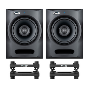 Fluid Audio FX80 Active Studio Monitor Speaker (Pair) + DS8 Desktop Speaker Stand (Pair) Bundle