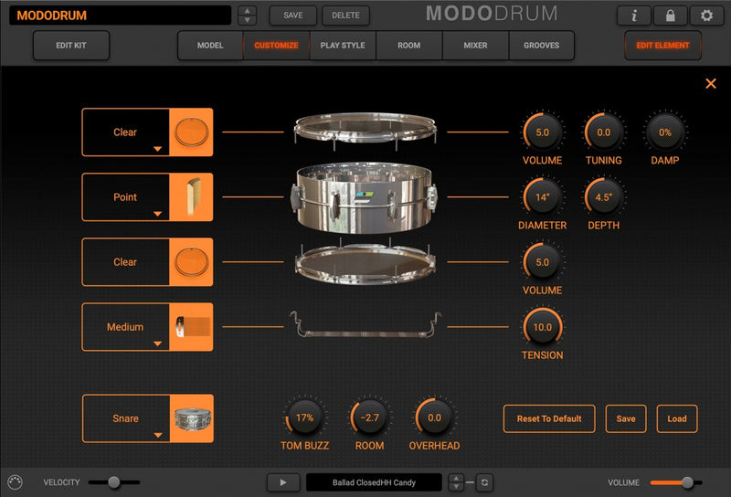IK Multimedia MODO Drum Modal Synthesis Virtual Instrument Mac/PC AU/VST/AAX eDelivery