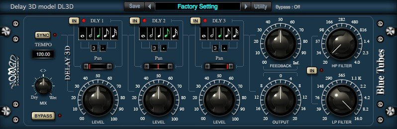 Nomad Factory Blue Tubes Tempo Delay 3D Plugin Software - eDelivery