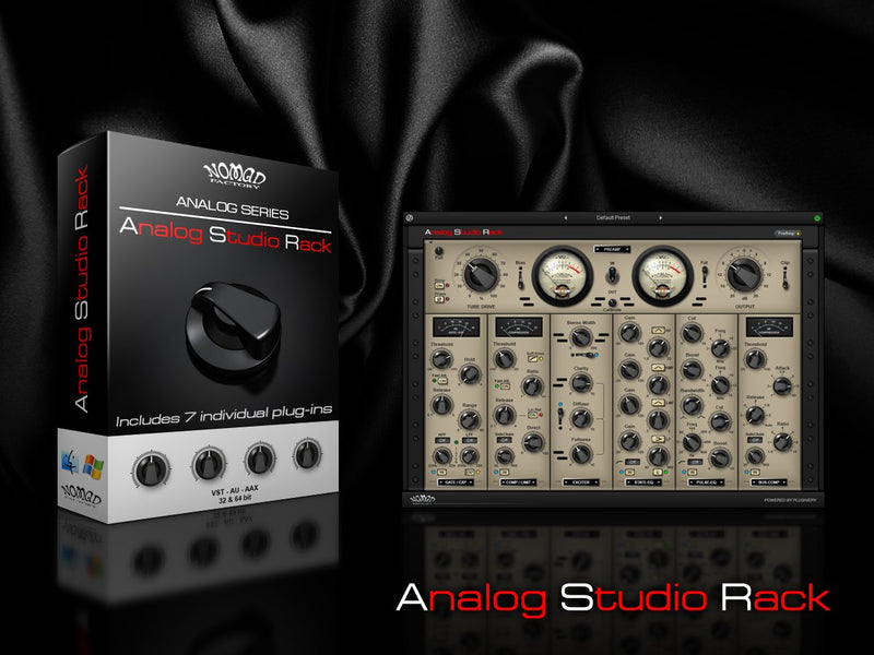 "Nomad Factory Analog Studio Rack - Virtual ""Modular Rack"" that provides hot-swappable 500 series style EQ's, Compressors, Gate, Exciter and a Tube Driven Pre-Amp"