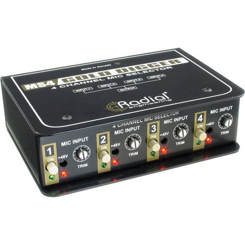 Radial Engineering Gold Digger 4-Channel Mic Selector DI Direct Box