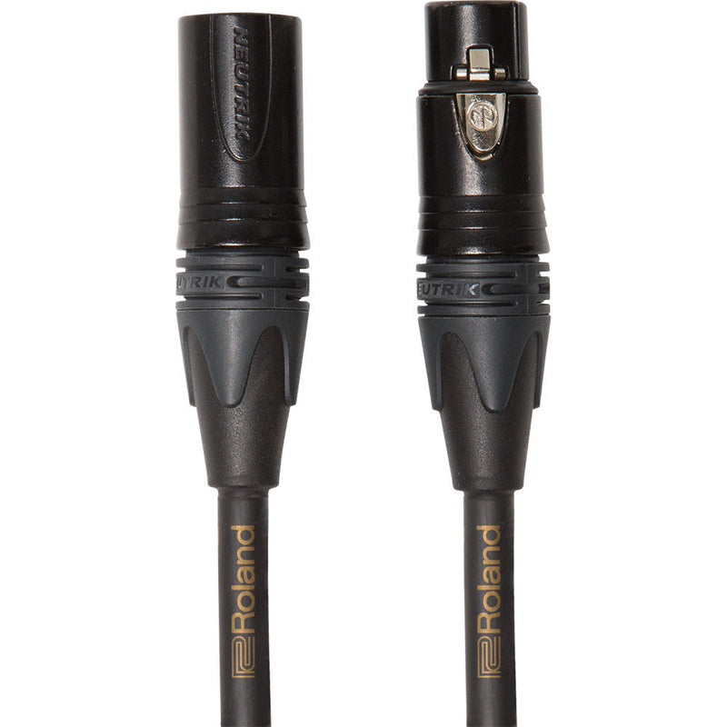 Roland Gold Series Neutrik XLR-M to XLR-F Balanced Microphone Cable (3')