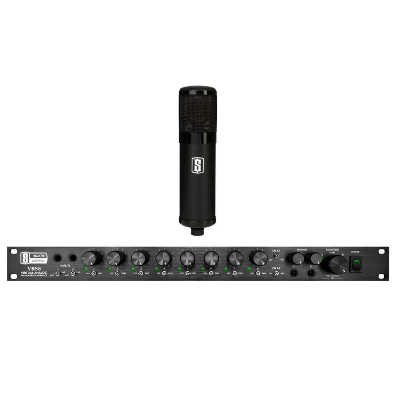 Slate Digital VRS8 Thunderbolt 8-Channel Audio Interface + Slate VMS ML-1 Matte Black Microphone Bundle