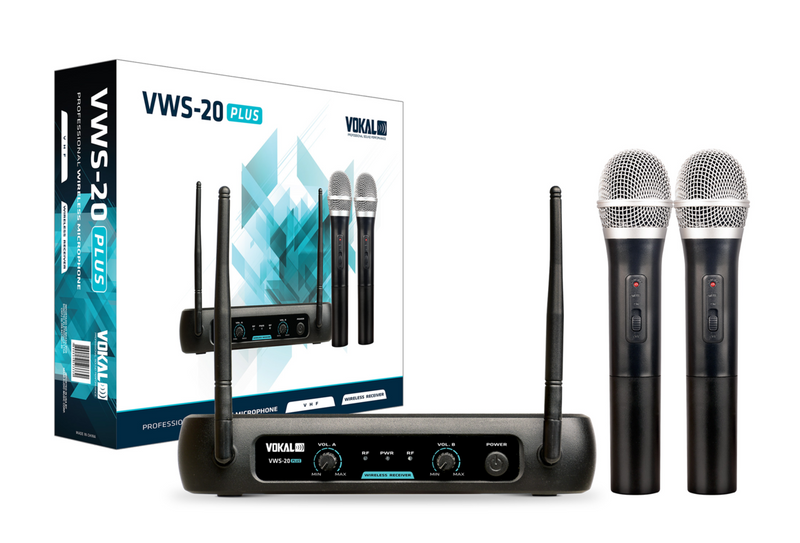 Vokal Professional VWS-20PLUS VHF Dual Handheld Wireless Microphone System