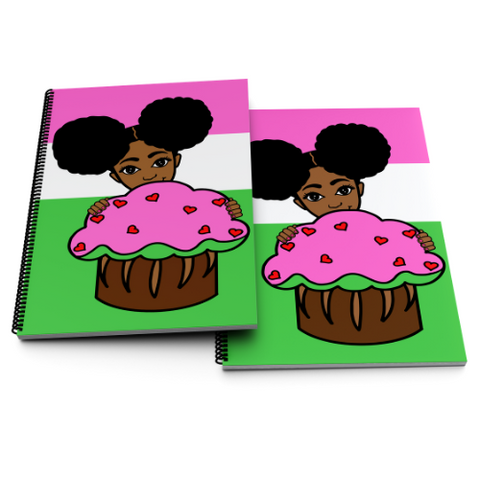 Layla with a Cupcake Notebook