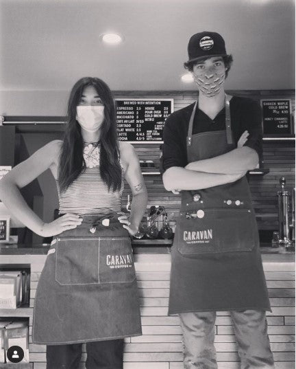 Denim Leather Barista Half Style Apron