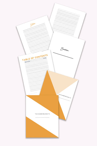 planner framework printables bundle orange