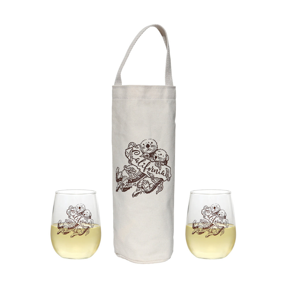 Wine Tote and Glasses Combo