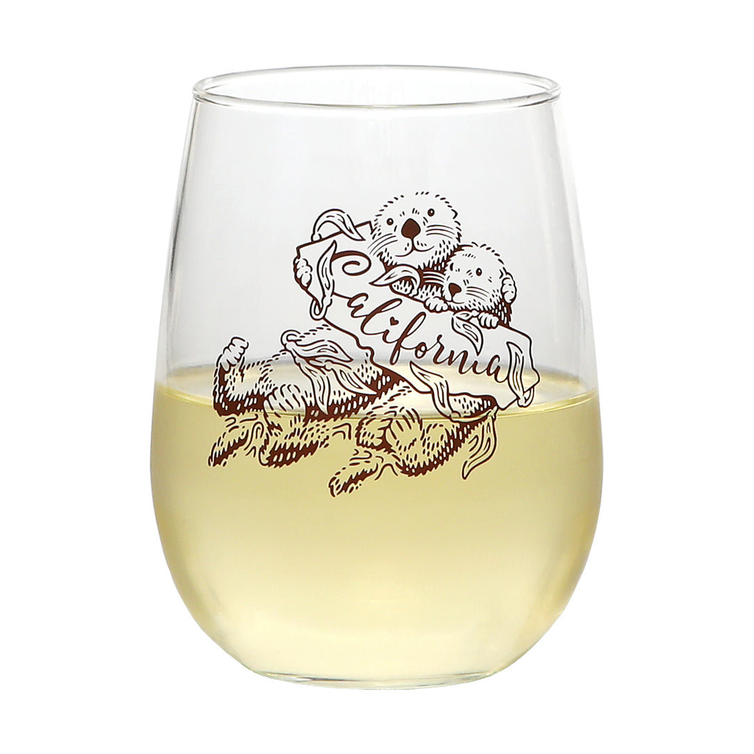 Sea Otter Stemless Wine Glass