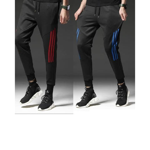 Image of 100% Polyester Side Stripes Slim Fit Track Pants (Pack Of 2)