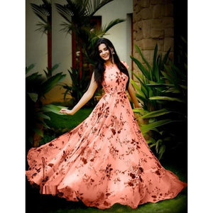 Adorable Satin Floral Print Gown