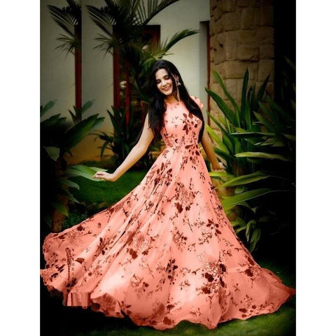 Image of Adorable Satin Floral Print Gown