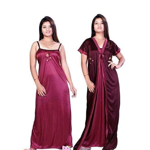 Adorbale Satin Printed Night Dress with Robe