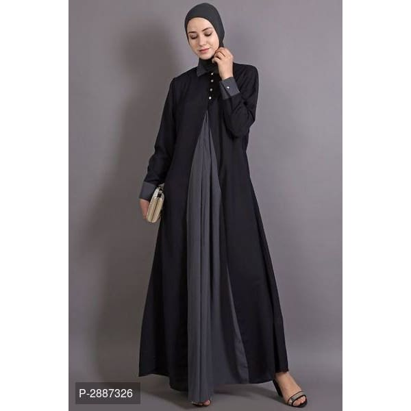 Black And Grey Polyester Embroidered Casual Abaya