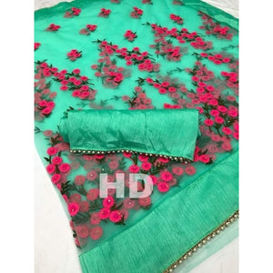 Colorful Heavy Net Embroidered Thread Work With Stone Regular Saree