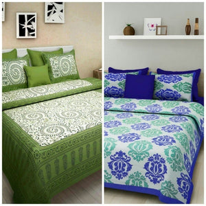 Cotton King Size Printed 2 Bedsheet with 4 Pillow cover