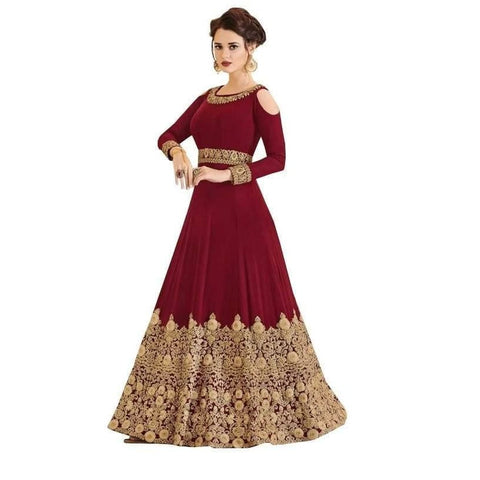 Glamorous Faux Georgette Embroidered Gown