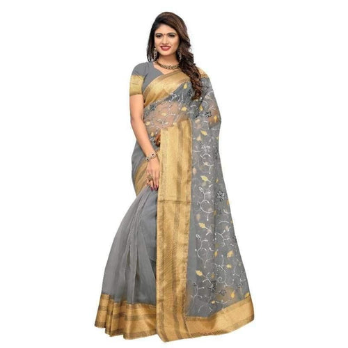 Gorgeous Poly Net Embroidered Regular Saree