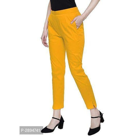Solid Cotton Lycra Pants For Womens