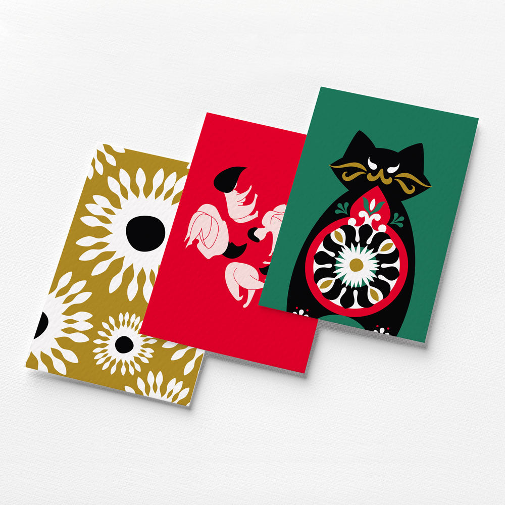 A set of five mesmerising cards depicting the colourful undertones of Mikhail Bulgakov's masterpiece, The Master and Margarita.