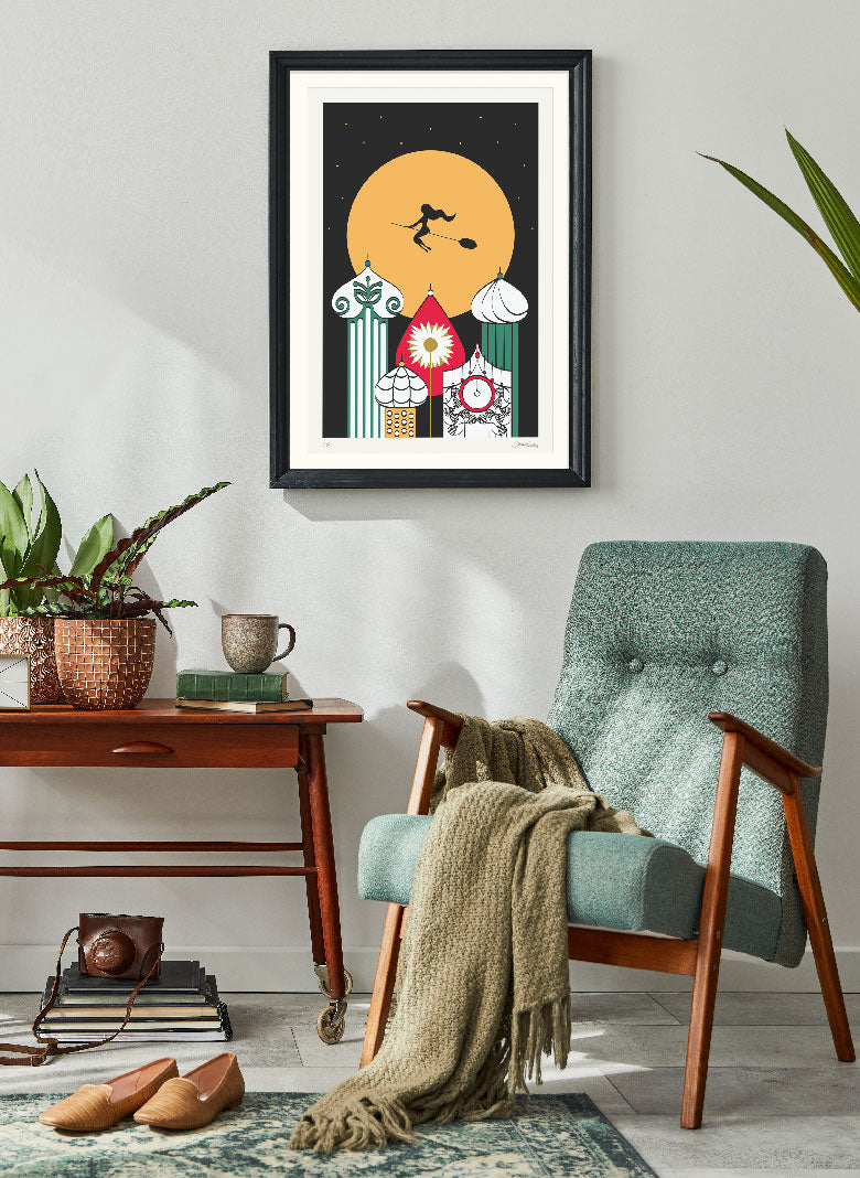 Over the Russian sky limited edition print on the wall of a beautiful decorated room