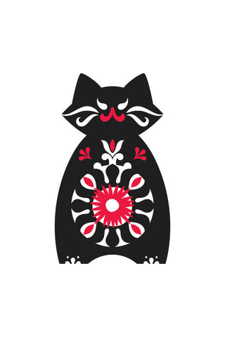 The original design used on the t-shirt, a black cat with a huge margarita on his belly.
