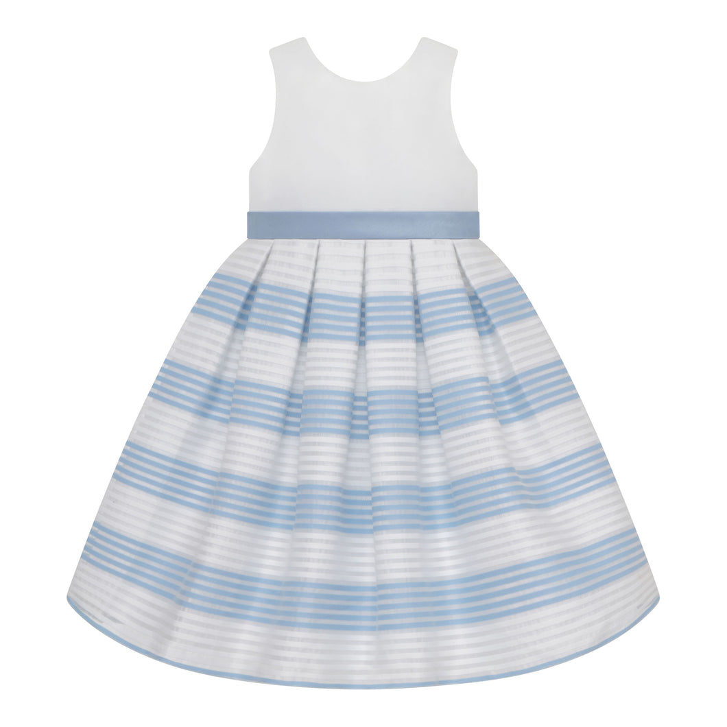 Blue and White Sleeveless Dress