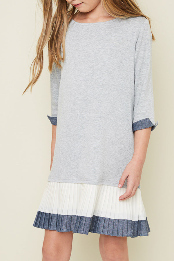 Pleated Hem Knit Dress