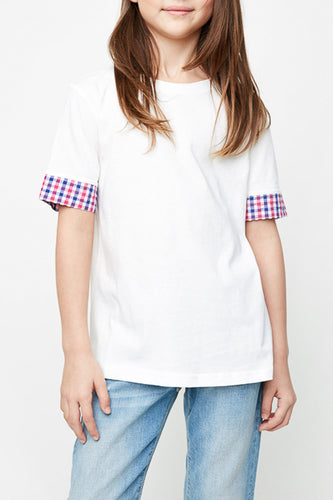 White Plaid Trimed Tee Shirt
