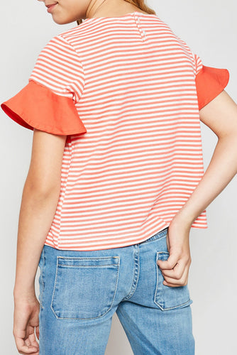 Coral Striped Ruffle Yoke Top