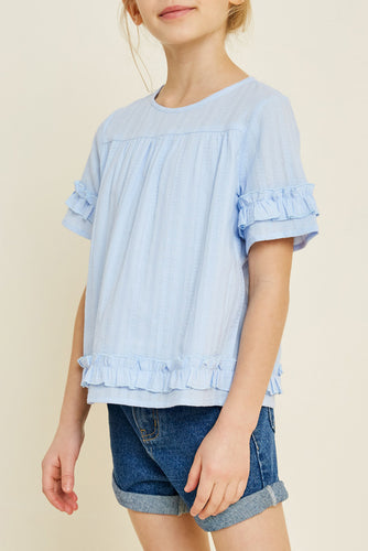 Sky Colored Textured Ruffle Trimed Top