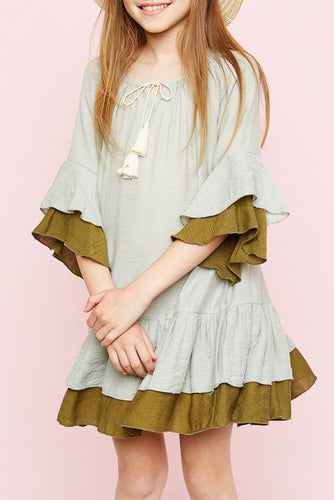 Sage Ruffled Two Toned Tiered Dress