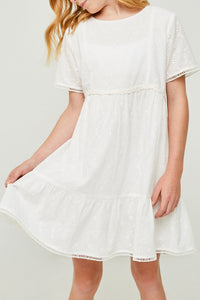 Off White Embroidered Eyelet Peasant Dress