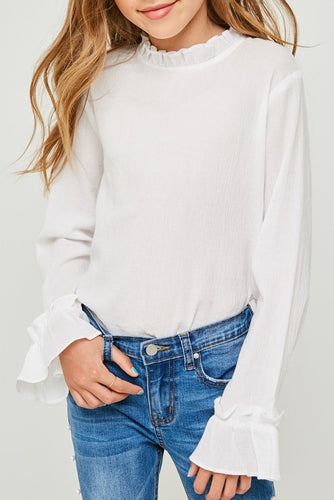 Off White Ruffled Mock Neck Top