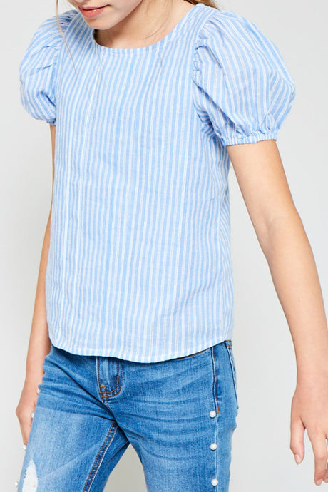 Sky Stripe Puff Sleeve Button Down Top