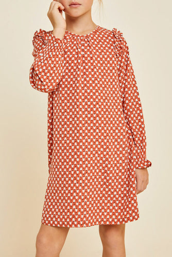 Deep Rose Geometric Print Shift Dress