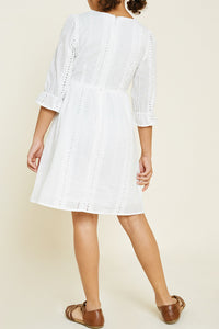 Embroidered Eyelet Button Down Dress