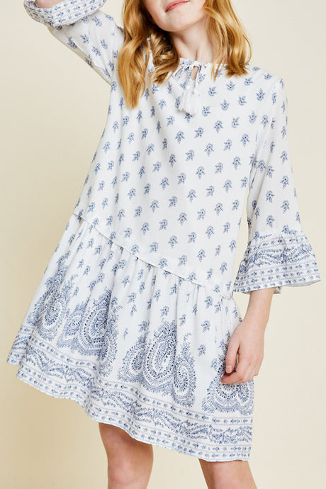Paisley Bell Sleeve Dress