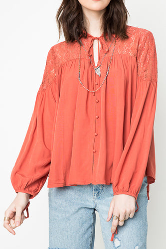 Salmon Lace Print Tunic Blouse