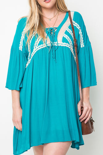 Teal Lace Up Peasant Dress