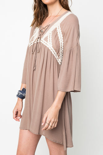 Mocha Lace Up Peasant Dress