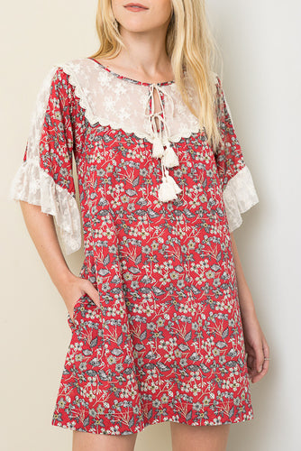 Cherry Printed Baby Doll Dress